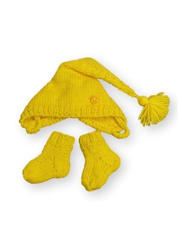 Комплект с шапкой - Желтый. Одежда для кукол, пупсов и мягких игрушек.