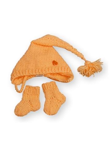 Комплект с шапкой - Персик. Одежда для кукол, пупсов и мягких игрушек.