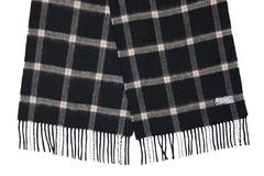 Шерстяной шарф черный в клетку 30301