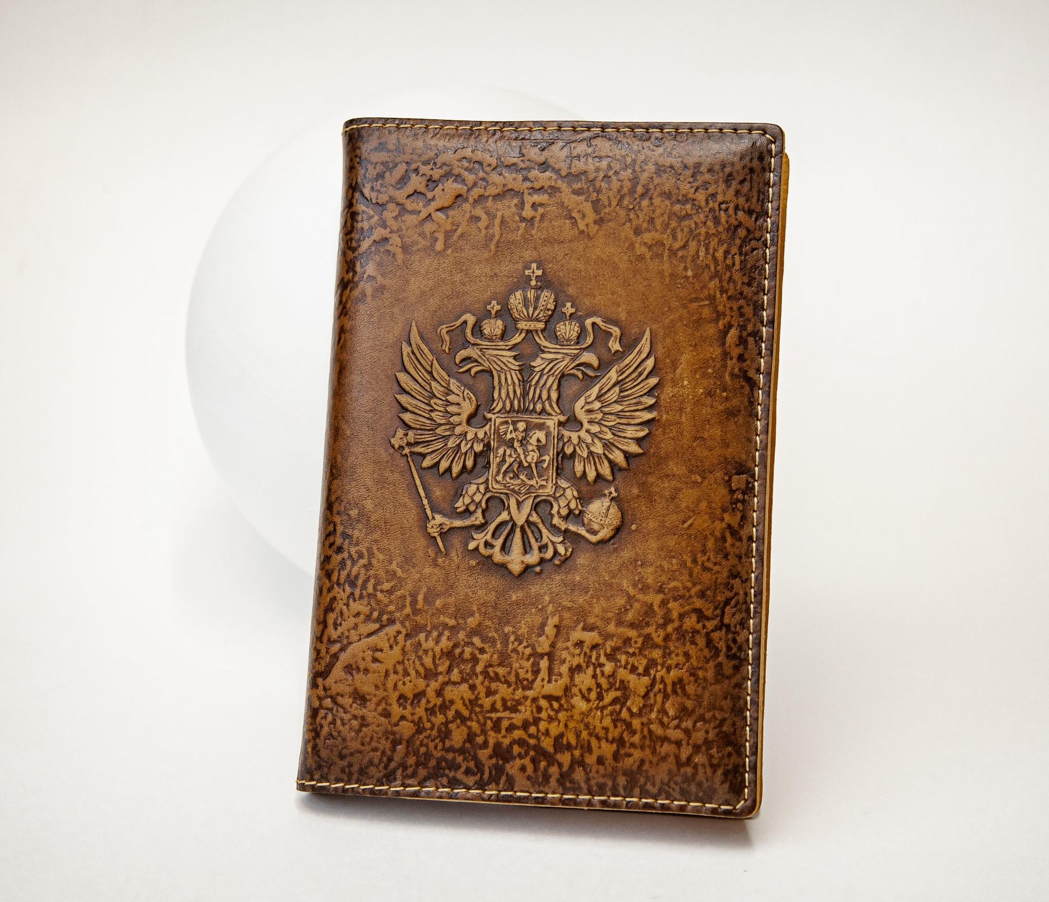 BY05-53-08 Кожаный ежедневник «Герб России» со сменным блоком (А6)