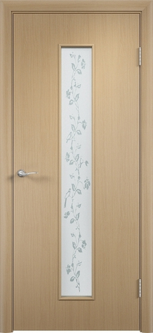 Дверь Верда С-17(художественное стекло), цвет беленый дуб, остекленная