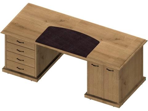 Стол директора с тумбой для системного блока и ящиками С321С Л/П  (Советник)