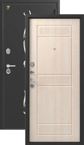 Сейф-дверь входная Зевс Z-7 NEW, 2 замка, 2 мм  металл, (чёрный шёлк+седой дуб)