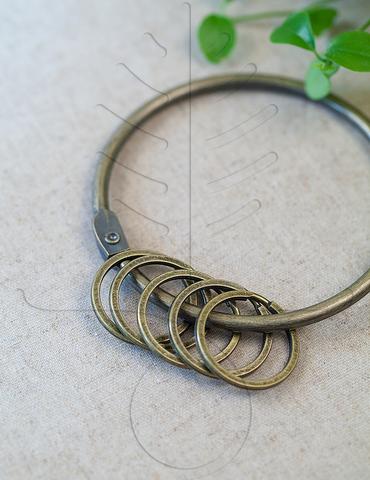 Кольцо для ключей, античная латунь