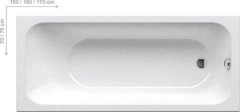 Акриловая ванна Ravak ROSA 160х105 L белая