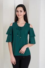 Одри. Молодежная блуза с воланами. Изумруд