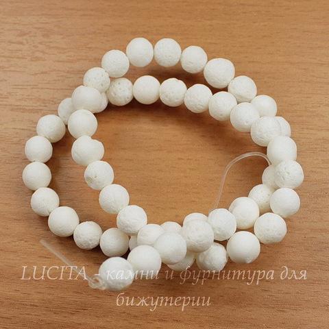 Бусина Коралл (тониров), шарик, цвет - белый, 8 мм, нить