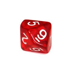 Куб D10 прозрачный: Красный