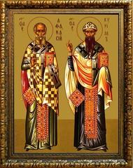 Афанасий и Кирилл Александрийские. Икона на холсте.