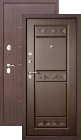 Тёплая дверь входная Бронин Булат 10, 2 замка, 1,4 мм  металл, (медь антик+дуб темный)