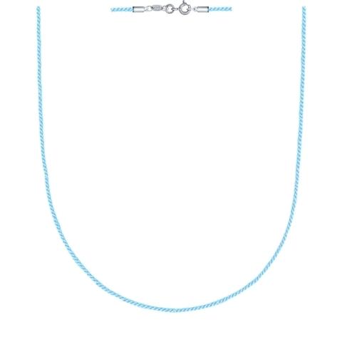 Текстильный шнур- голубой для подвесок с замочками из  серебра