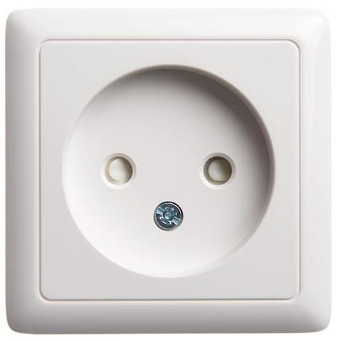 Розетка электрическая без заземления со шторками 10 А 250 В. Цвет Белый. Schneider Electric(Шнайдер электрик). Hit(Хит). RA10-137-B