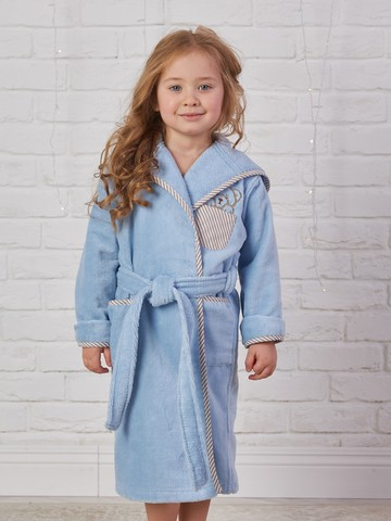 Детский  банный  махровый  халатик ТЕДДИ голубой