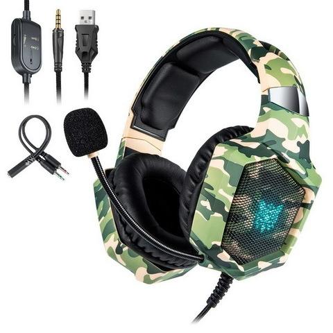 Наушники ONIKUMA Gaming with LED K8, camouflage-green