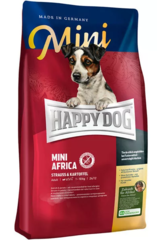 Корм для собак мелких пород склонных к пищевым аллергиям Happy Dog Supreme - Mini Africa с мясом страуса