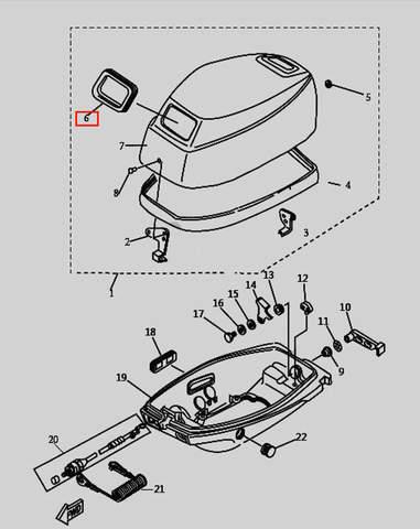 Уплотнитель резиновый для лодочного мотора T9.8 Sea-PRO (1-6)