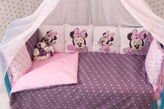 Постельный комплект в кроватку Микки фуксия