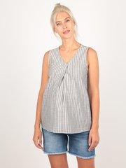 Евромама. Блуза для беременных в полоску со складкой, серый