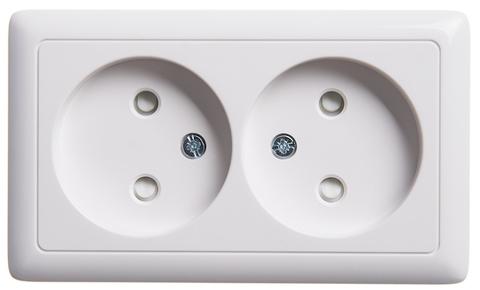 Розетка электрическая двойная без заземления со шторками и пластиковой пластиной 16 А 250 В. Цвет Белый. Schneider Electric(Шнайдер электрик). Hit(Хит). RA16-233I-B