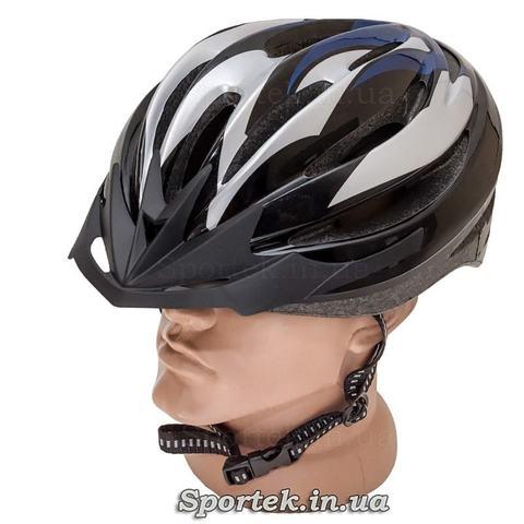 Велошлем длявзолслых черно-серо-синего цвета