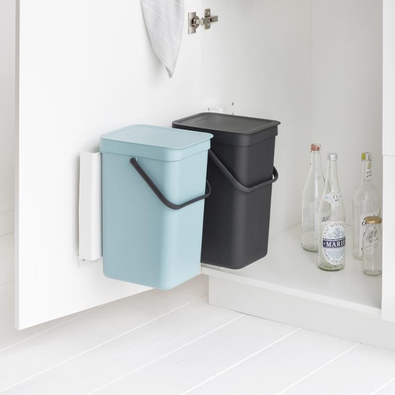 Встраиваемые мусорные ведра Sort & Go (2 x 12 л), Мятный/серый, арт. 109980 - фото 1