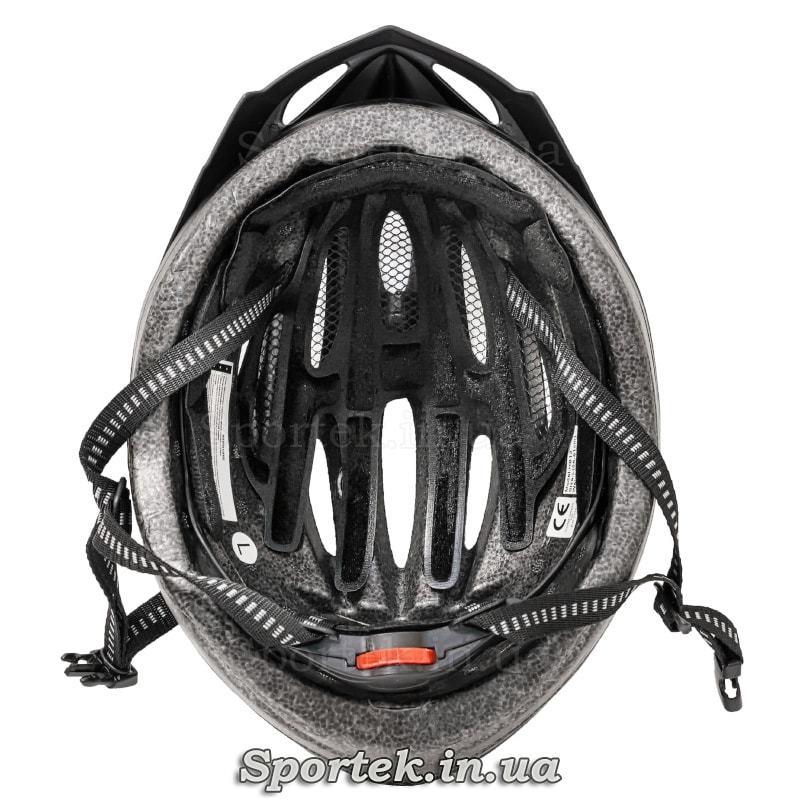 Вид внутри крос-кантрийного велошлема черно-серо-синего цвета