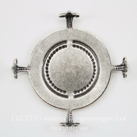 """Сеттинг - основа """"Черепашка"""" для камеи или кабошона 25 мм (оксид серебра) ()"""