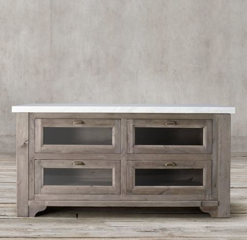 20th C. Salvaged Wood & Marble Kitchen Console
