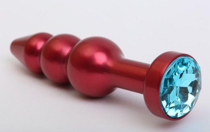 Интимные украшения: Красная анальная ёлочка с голубым кристаллом - 11,2 см.