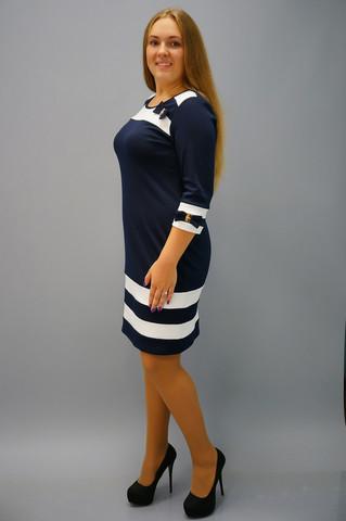Шанель. Плаття великих розмірів. Синій+білий.