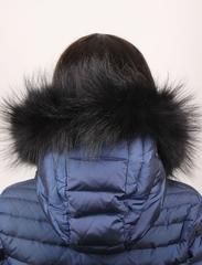 Опушка меховая на капюшон из натурального меха енот 80 см. Черная