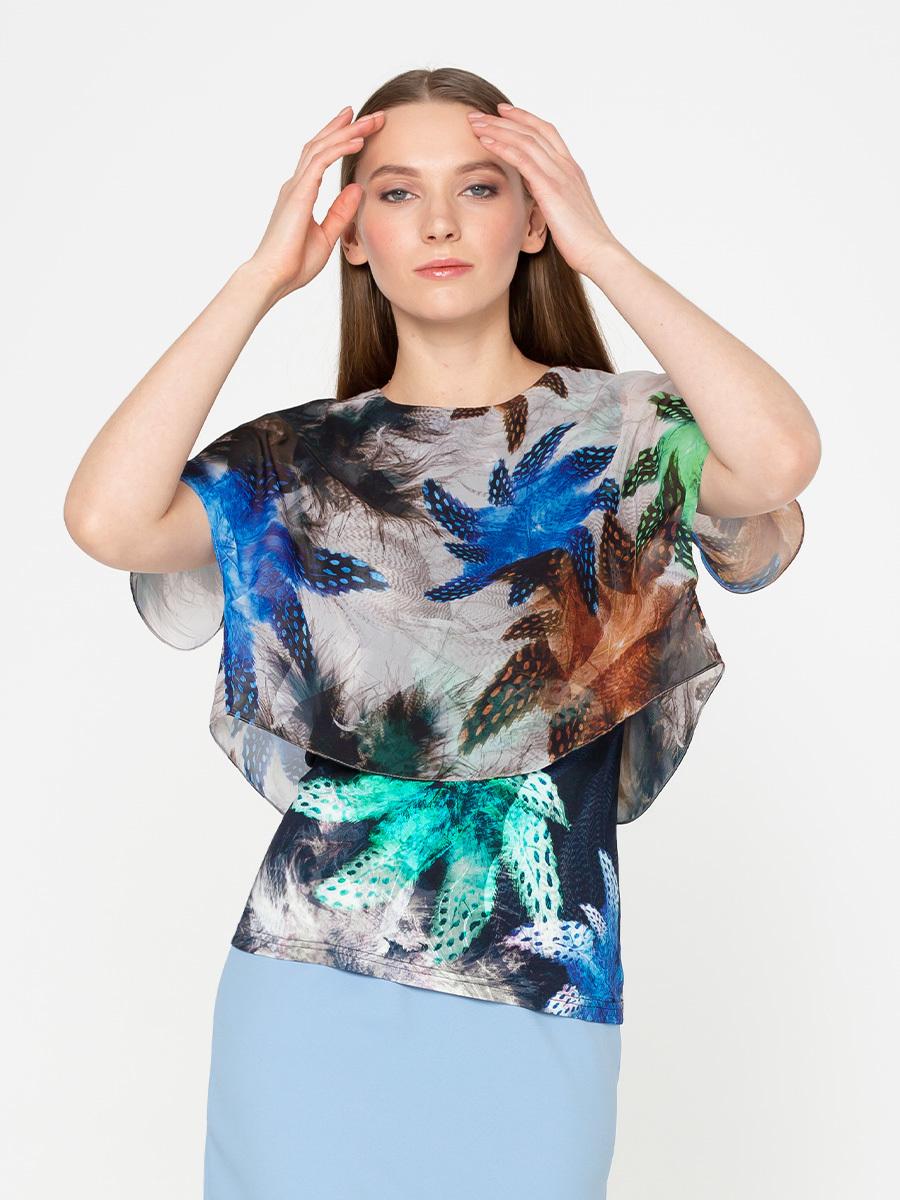 Блуза Г568-551 - Двухслойная блуза: верхний слой - шифон (ПЭ 100%), к телу - вискозный трикотаж (вискоза 84%, ПЭ 10%, эластан 6%) Эта модель станет украшением вашего гардероба и поможет вам создать элегантные запоминающиеся луки