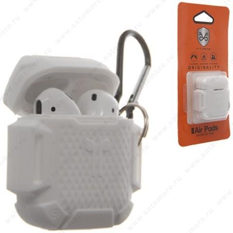 Чехол-кейс для Apple AirPods силиконовый с карабином и ремешком в упаковке белый