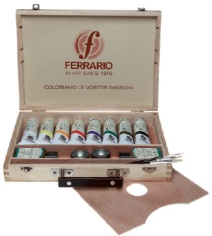Набор акриловых красок Ferrario ACRILIC MASTER в деревянном кейсе 20*30 см, 8 туб по 60 мл