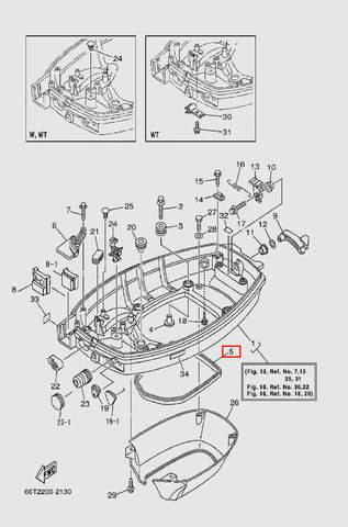 Уплотнитель резиновый  для лодочного мотора T40 Sea-PRO (13-5)