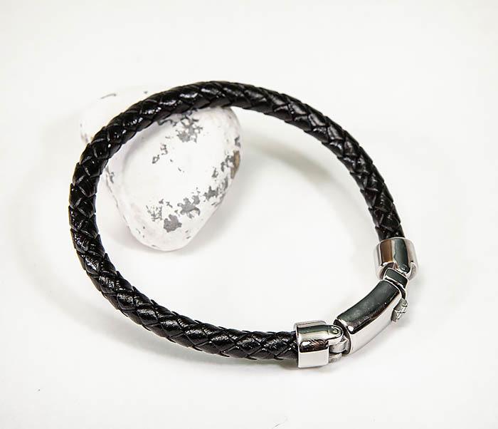 BM584 Мужской браслет шнур из кожи черного цвета фото 04