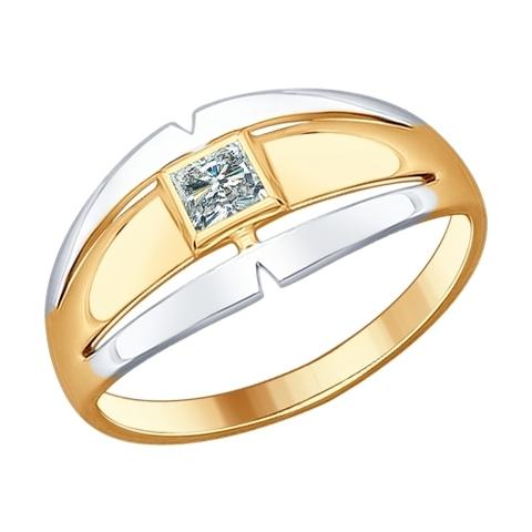 Кольцо из золоченого серебра с фианитом от SOKOLOV арт.93010602