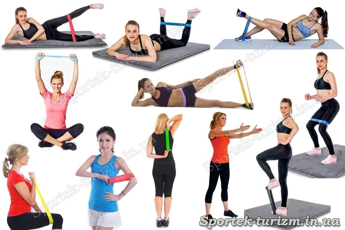 Упражнения с резинками для финтеса типа петля