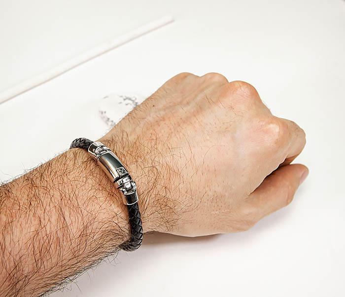 BM584 Мужской браслет шнур из кожи черного цвета фото 05