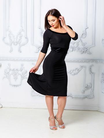 Платье декольте с бархатом арт.226