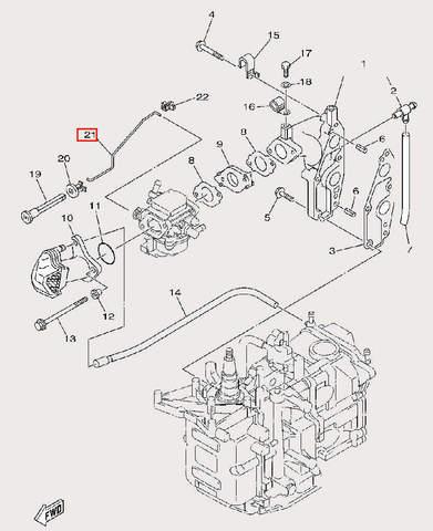 Тяга воздушной заслонки для лодочного мотора F9,9 Sea-PRO (6-21)