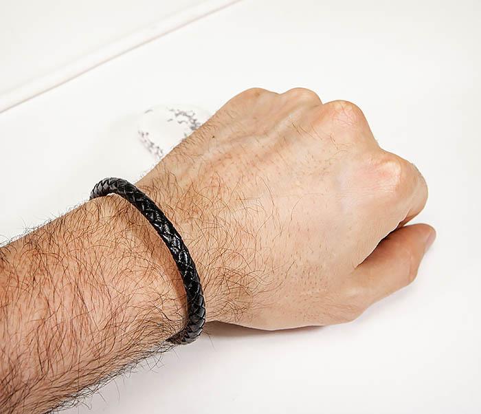 BM584 Мужской браслет шнур из кожи черного цвета фото 06