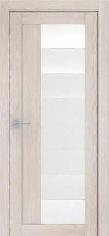 Дверь Визаж Смарт, стекло белое, цвет капучино, остекленная