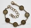 Основа для браслета с 6 сеттингами для кабошона, 25 см (цвет - античная бронза)