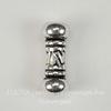 """Бусина металлическая трубочка """"Бали"""" (цвет - античное серебро) 14х5 мм"""