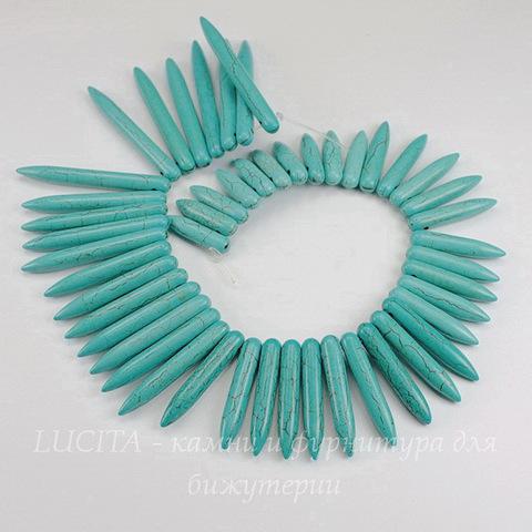 Бусина Говлит (искусств), продолговатая, цвет - голубой, 20-48х4-5 мм, нить