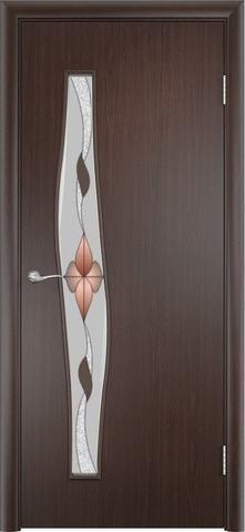 Дверь Верда Волна стекло Сара, художественное стекло Сара, цвет венге, остекленная