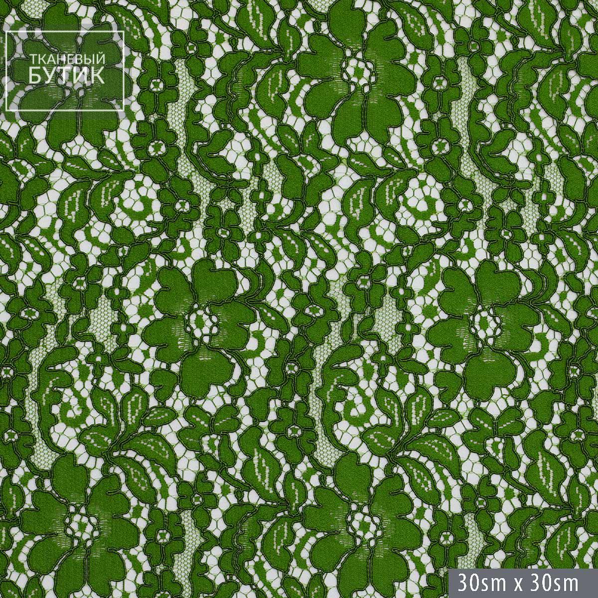 Хлопково-вискозное кордовое кружево цвета зеленой травы