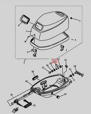 Скоба защелки колпака для лодочного мотора T9.8 Sea-PRO (1-14)