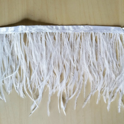 Тесьма  из перьев страуса h 10 - 15 см., белый